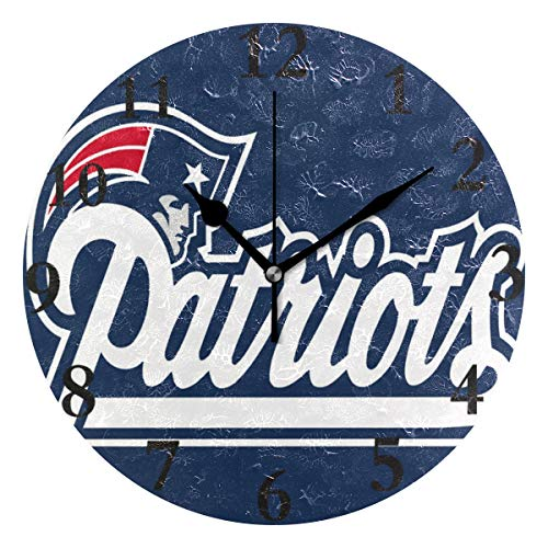 Ladninag Wall Clock New England Patriots Silent Non Ticking Decorative Round Digital Clocks for Home/Office/School Clock ()