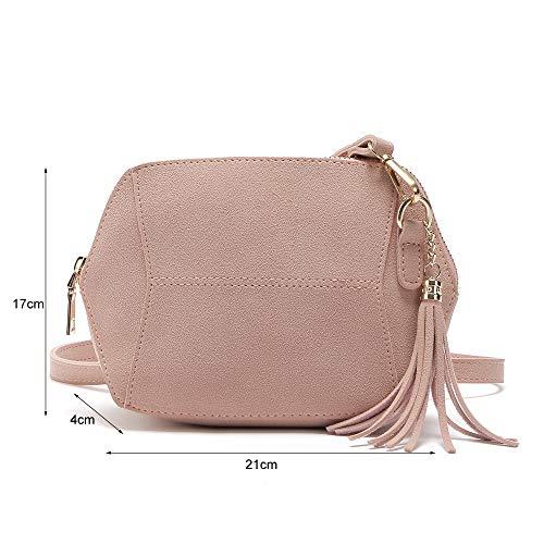 Handbag Work Handbag Style 21 Fashion Pendant Crossbody Hexagonal Bag 17 X Brown X Frosting Women's amp; Navy Tassel PU Casual High Women's with Modern Leather Quality 4CM Xwa0xHq