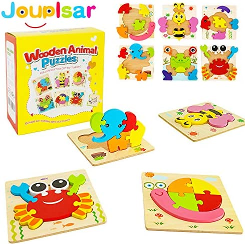 Wooden Puzzles for Toddlers ? 6 PACK Animal Jigsaw Wooden Puzzles For Kids Fine Motor Skill Learning Toys for 1 2 3 Year Old Boys Girls Baby Infants Preschool Educational Game for Kids & Toddlers