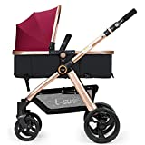 Hanmate Two-way Baby Foldable Anti-shock High landscape Carriage Infant Stroller Pushchair Pram Without Brim (Purple, Size3)