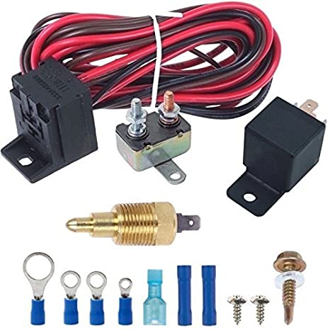 American Volt Electric Engine Fan Grounding Thread-in Thermostat Relay Controller Switch Kit 1//4 NPT, 200F On - 185F Off