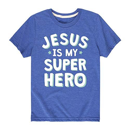 Solid Light Jesus is My Superhero - Toddler Short Sleeve Tee Royal Blue -