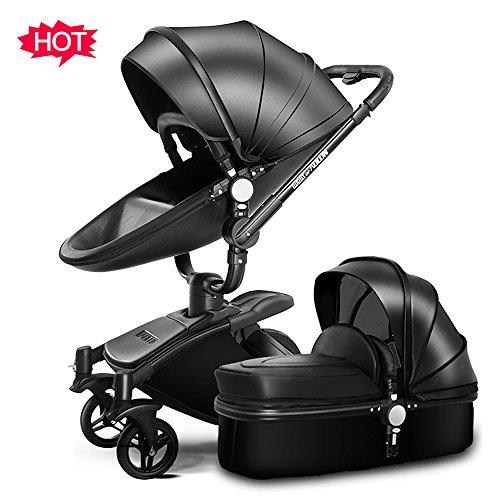 SpringBuds Infant Shock-Resistant Stroller Baby Pram Bassinet and Toddler Seat Combo (Gloss Black)