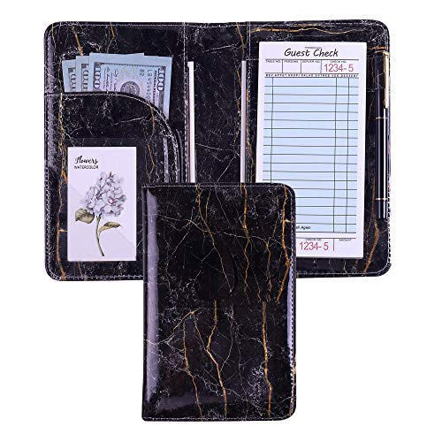 Server Book Marble Waitress Book with Money Pen Holder Server Wallet Pocket Fit Restaurants Check Presenter Waiter Book Waitstaff Organizer fit Server Apron (Marble Black) ()