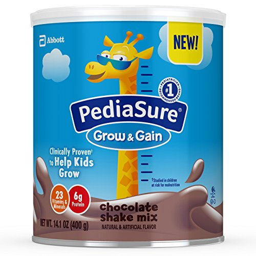 PediaSure Grow & Gain Non-GMO Chocolate Shake Mix Powder, Nutrition Shake for Kids, 14.1 oz, 6 count For Sale