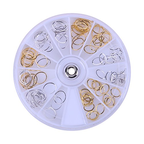 Occitop New Gold Silver Oval Circle Ring Metal Nail Art Suppilies Decorations Wheel for $<!--$5.79-->
