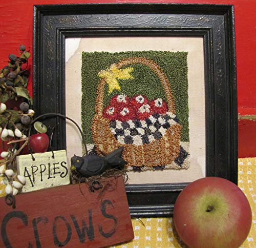 Punch Needle Embroidery APPLE BASKET Framed Piece