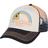 Dolphin Shirt Co California Girl Trucker Snapback Hat - Vintage Cream with Rainbow Stitching