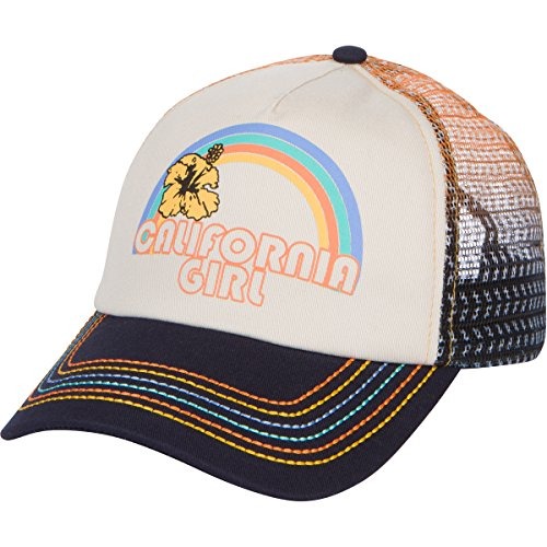 California Girl Trucker Snapback Hat - Vintage Cream with Rainbow - Trucker Girls Hat