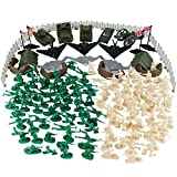 Boley 180-Piece Military Playset Playmat - Toy Plastic Green Army Men Miniature Action Figure Bucket Set - Elite Force Military Assortment Soldiers Accessories - Perfect Party Favors