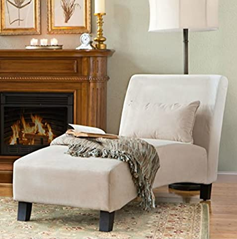 Traditional Chaise Lounger -This Polyester Microfiber Upholstered Lounge Is Perfect for Your Home or Office - Put This Accent Sofa Furniture in the Bedroom or Living Room - Gift - Free Decor (Indoor Chaise Chair Cover)