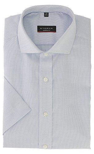 ETERNA Herren Kurzarm Hemd aus 100% Baumwolle Modern Fit mit Haifisch Kragen leicht tailliert geschnitten Gr. 42 Blau kariert