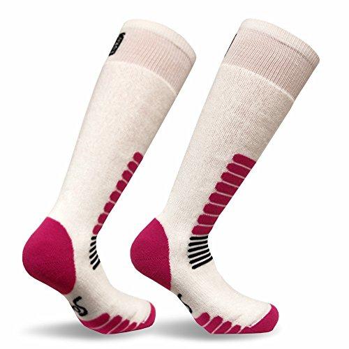 Eurosocks Micro-Supreme Over The Calf Ski Zone Socks,White/Pink, Medium