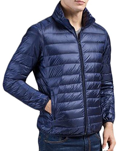 Jacket L Blue Stand US Puffer Down Collar Men's Navy EKU Packable Winter UqPwpWzx