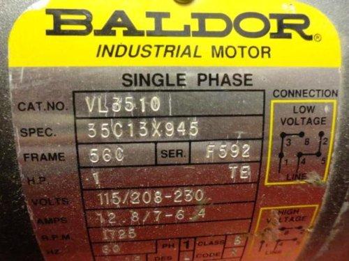 Baldor VL3510 General Purpose AC Motor, Single Phase, 56C Frame, TEFC Enclosure, 1Hp Output, 1725rpm, 60Hz, 115/230V Voltage