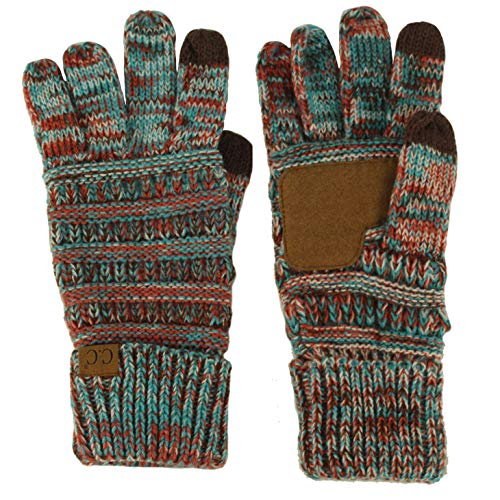 Winter CC Quad Touch Screen Smart Cellphone Finger Tips Warm Soft Gloves Teal ()
