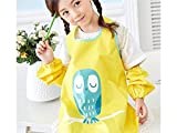 Gelaiken Perfect Cartoon Kid Waterproof Oil-Proof Animal Owl Printed Apron Girl Boy Two Arm Sleeves(Yellow,Size:L)