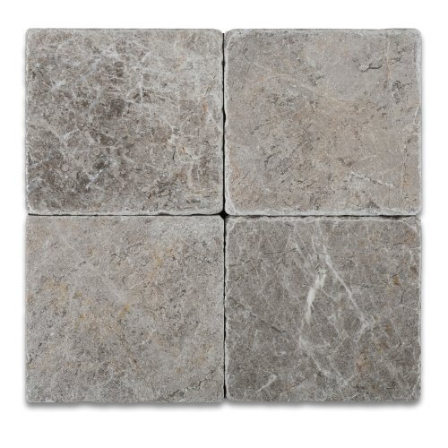 Silverado Gray 6X6 Marble Tumbled Mosaic Tile (Bathroom Slate Tile)