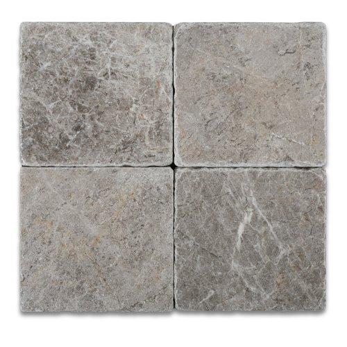 Silverado Gray 6X6 Marble Tumbled Mosaic Tile (Slate Bathroom Tile)