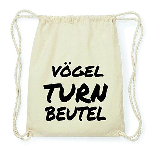 JOllify VÖGEL Hipster Turnbeutel Tasche Rucksack aus Baumwolle - Farbe: natur Design: Turnbeutel