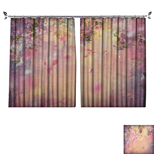 (DESPKON Environmental Protection Material Polyester Spring Cherry Blossom with Flying Petals on Canvas Vintage Background for Living Room Window,Sun Insulation. W72 x L72)