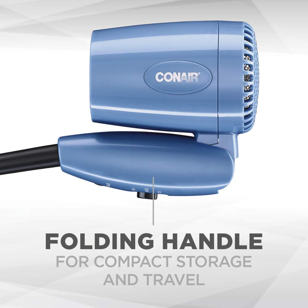 Conair 1600 Watt Compact Hair Dryer with Folding Handle, Dual Voltage Travel Dryer: Beauty