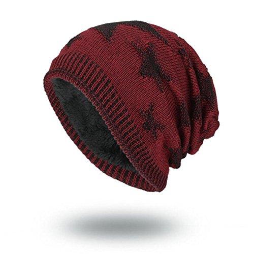 Sombrero Cálida Invierno Lana Negro Tejida Fossen Beanie Gorro Rojo Hombre wx7qYPXRW