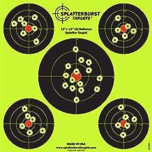 Splatterburst Targets - 12 x12 inch (5) Bullseye Reactive Shooting Target - Shots Burst Bright Fluorescent Yellow Upon Impact - Gun - Rifle - Pistol - AirSoft - BB Gun - Air Rifle