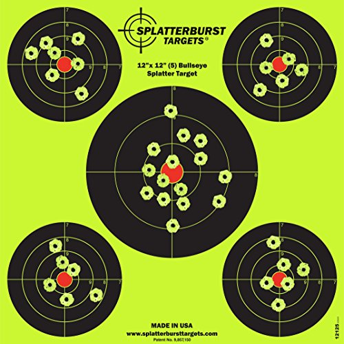 Splatterburst Targets - 12 x12 inch (5) Bullseye Reactive Shooting Target - Shots Burst Bright Fluorescent Yellow Upon Impact - Gun - Rifle - Pistol - AirSoft - BB Gun - Air Rifle (25 pack)