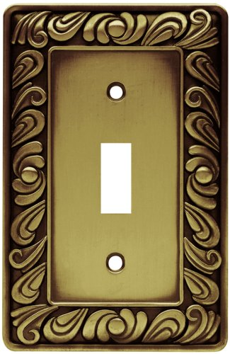 (Franklin Brass 64049 Paisley Single Toggle Switch Wall Plate/Switch Plate/Cover, Tumbled Antique Brass)