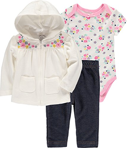 Wan-A-Beez Baby Boys' and Baby Girls' 3-Piece Jacket Bodysuit Pant Set (Floral, 18 Months)