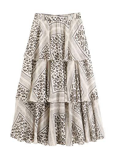 WDIRARA Women's Leopard Print High Waist Tiered Layered Ruffle A-Line Skirt White-1 - Tiered Leopard