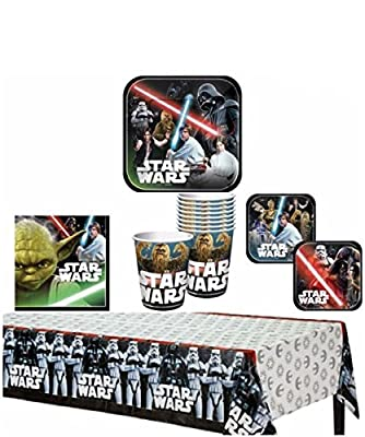 TLP Party Star Wars Birthday Party Supplies Pack for 8 Guests - Bundle Includes Dinner Plates, Dessert Plates (4 of each design), Lunch Napkins, Cups, and a Table Cover