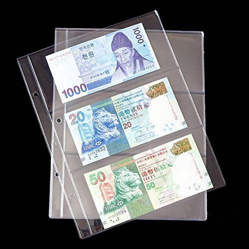 [해외]20 개몫 3 줄 25mm200mm 지폐 앨범 페이지 종이 돈 사진 앨범에 대 한 투명 한 앨범 (돈과 커버를 포함 하지 않음) (12 인치) / 20pcslot 3 Row 255mm200mm Banknotes Album Page Transparent Album for Paper Money Photo Album(NOT Include Money ...