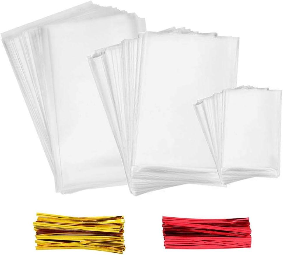 INTVN Bolsas Transparentes Bolsas Celofán - 300 Piezas Múltiples tamaños Bolsas Transparentes Dulces Bolsa OPP con 300 Piezas Lazos de 2 Colores , para Regalo Bolsa, Bolsa de Dulces, Boda