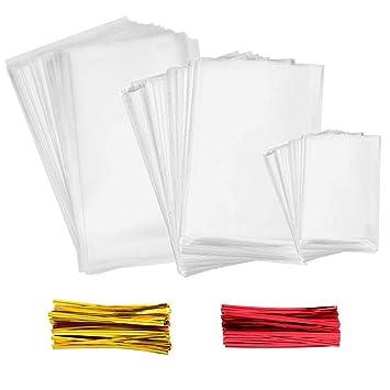 INTVN Bolsas Transparentes Bolsas Celofán - 300 piezas Múltiples tamaños Bolsas Transparentes Dulces Bolsa OPP con 300 piezas Lazos de 2 Colores, para ...