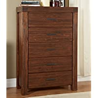 Modus Furniture Meadow Five Drawer Solid Wood Chest, Brick Brown