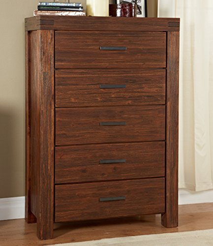 - Modus Furniture Meadow Five Drawer Solid Wood Chest, Brick Brown