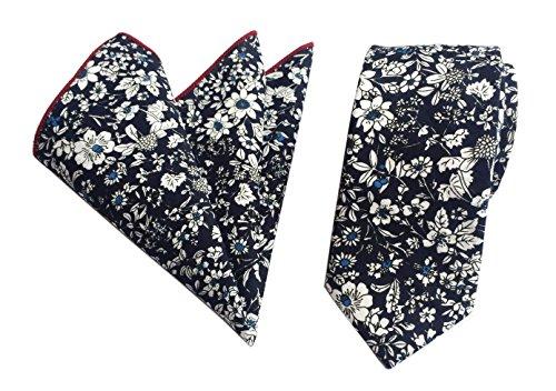 Men's White Flowers in Navy Blue Casual Fashion Floral Cotton Slim Tie Neckties