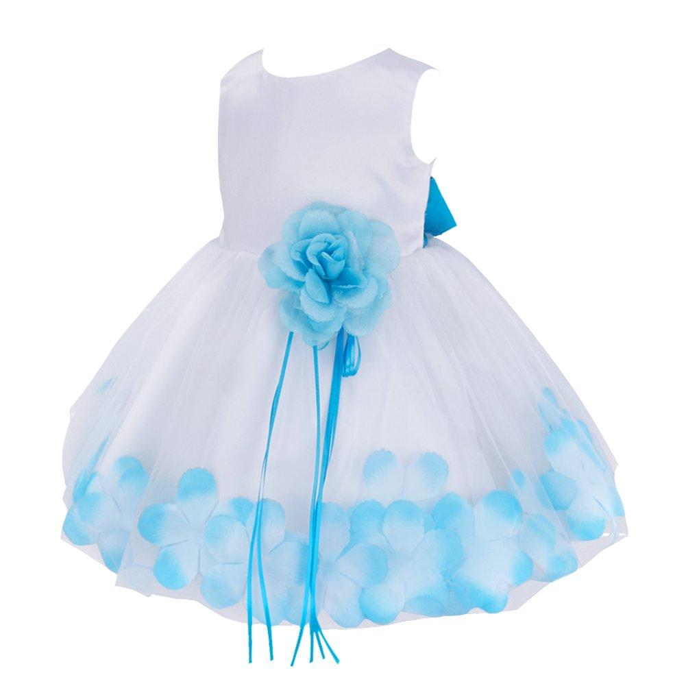f586ec080cf0 Amazon.com  TiaoBug Baby Girls Flower Petals Tulle Formal Bridesmaid ...
