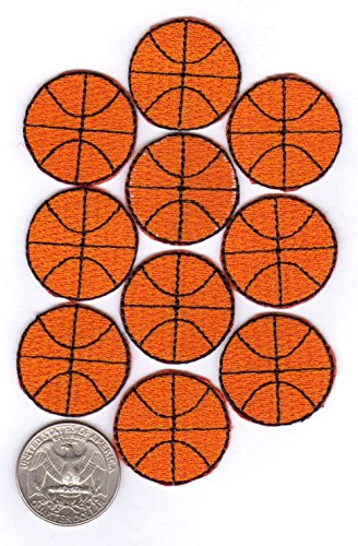 20 Basketball Patches Plain (2 x 10-Packs) 100% Embroidered Iron-On Backing