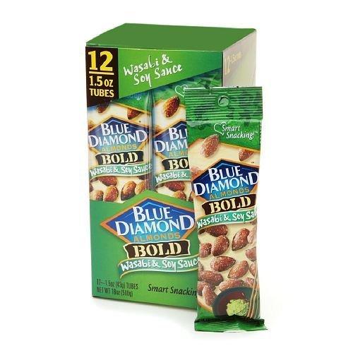 Blue Diamond Bold Almonds, Wasabi & Soy Sauce, 1.5 oz tubes 12 ea (Blue Diamond Almonds Wasabi And Soy Sauce)