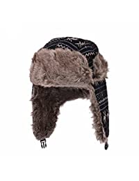 Huan Xun Weave Knit Design Faux Fur Trapper Bomber Hat Cap