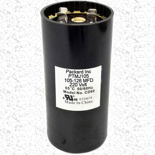 Amazon Com Room Air Conditioner Replacement Parts Packard Ptmj105 Motor Start Capacitor 105 126 Mfd Uf 220 250 Vac Home Kitchen