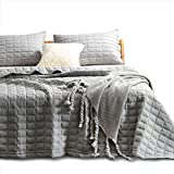 Kasentex Quilt-Bedding-Coverlet-Blanket-Set, Machine Washable, Ultra Soft, Lightweight, Stone-Washed, Detailed Stitching - Hypoallergenic - Solid Color, King + 2 Shams, Dark Grey