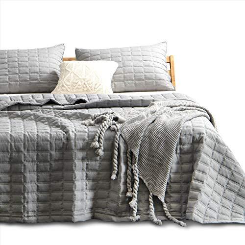 KASENTEX Quilt-Bedding-Coverlet-Blanket-Set, Machine Washable, Ultra Soft, Lightweight, Stone-Washed, Detailed Stitching – Hypoallergenic – Solid Color (Dark Grey, Oversized Queen + 2 Shams)