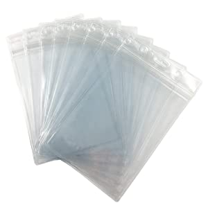 Fushing Pack of 50 Clear Plastic Vertical Badge Holders, Name Tag Holders, Card Holders