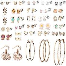 29 Pairs Assorted Multiple Stud Earrings set for Women Girls Simple Hoop earring set