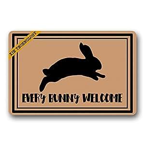 Artsbaba Doormats cada conejo Welcome de goma antideslizante Felpudo entrada alfombra Felpudo Durable casa interior Mats 23.6x15.7