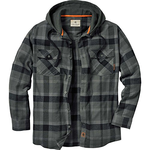 Legendary Whitetails Men's Whitetail Lodge Hooded Flannel Charcoal Small